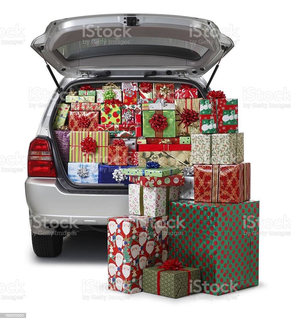 Christmas Presents in Car royalty-free stock photo