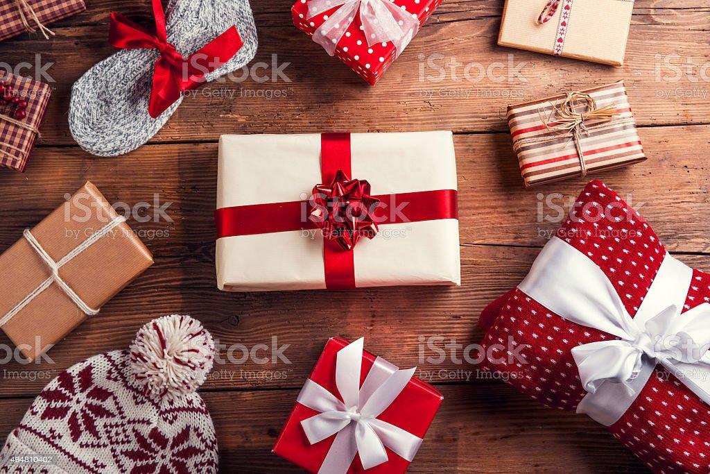 Christmas presents on a table stock photo