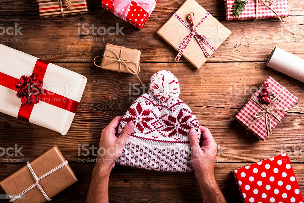 Christmas presents on a table stock photo
