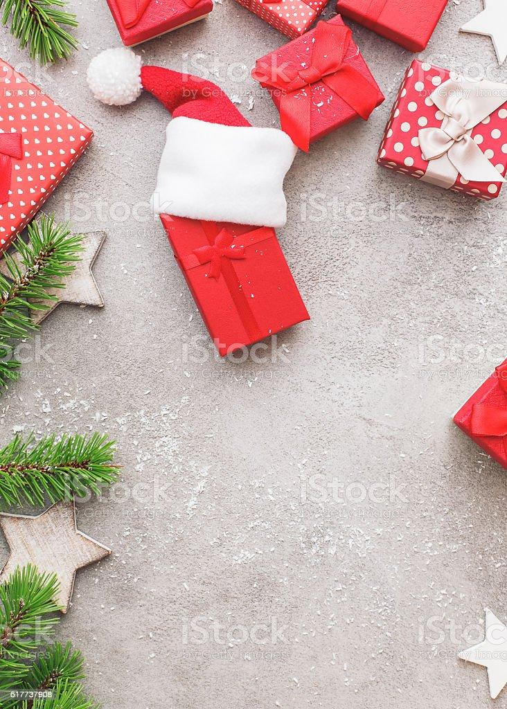 Christmas presents on rustic table stock photo