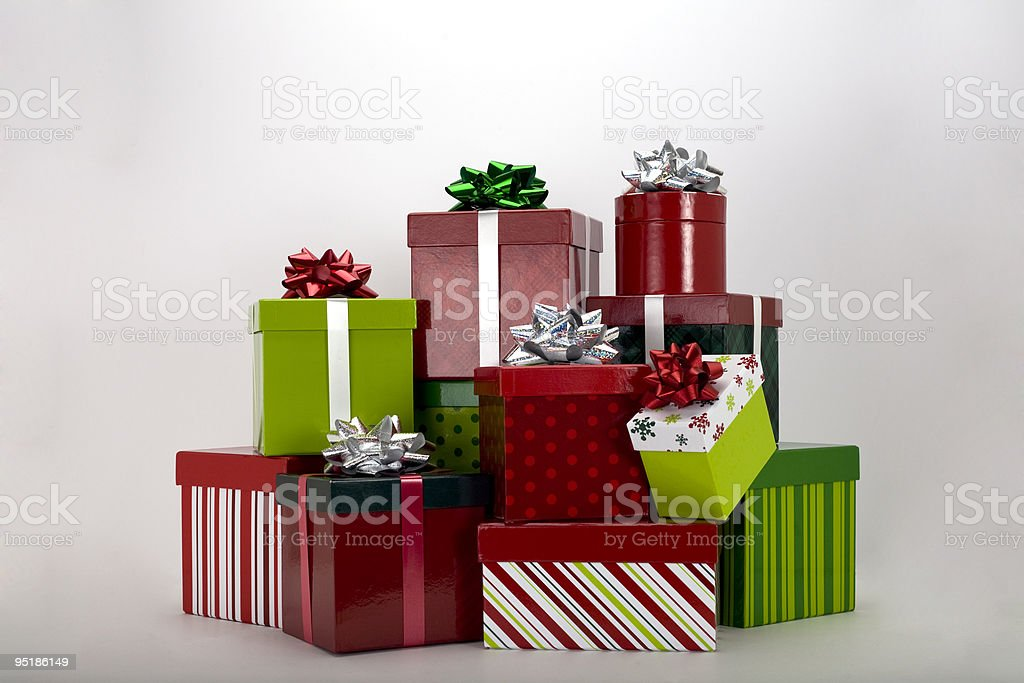 christmas Presents (clipping path included) stock photo