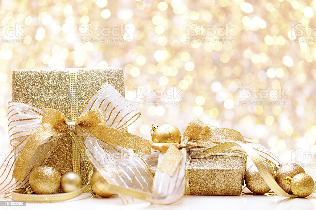 Christmas presents with illuminated background royalty-free stock photo