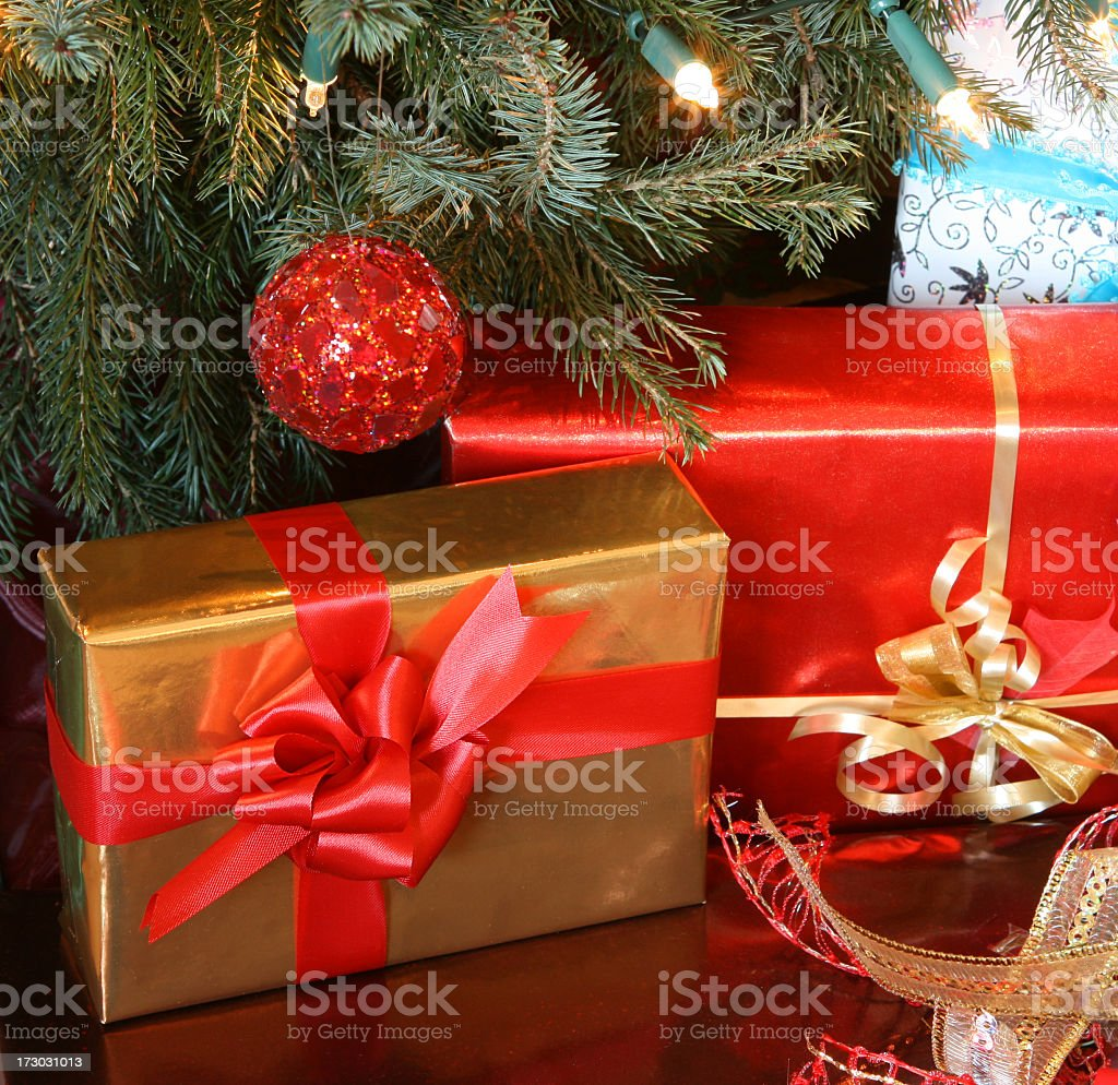 Christmas presents with red bow stock photo