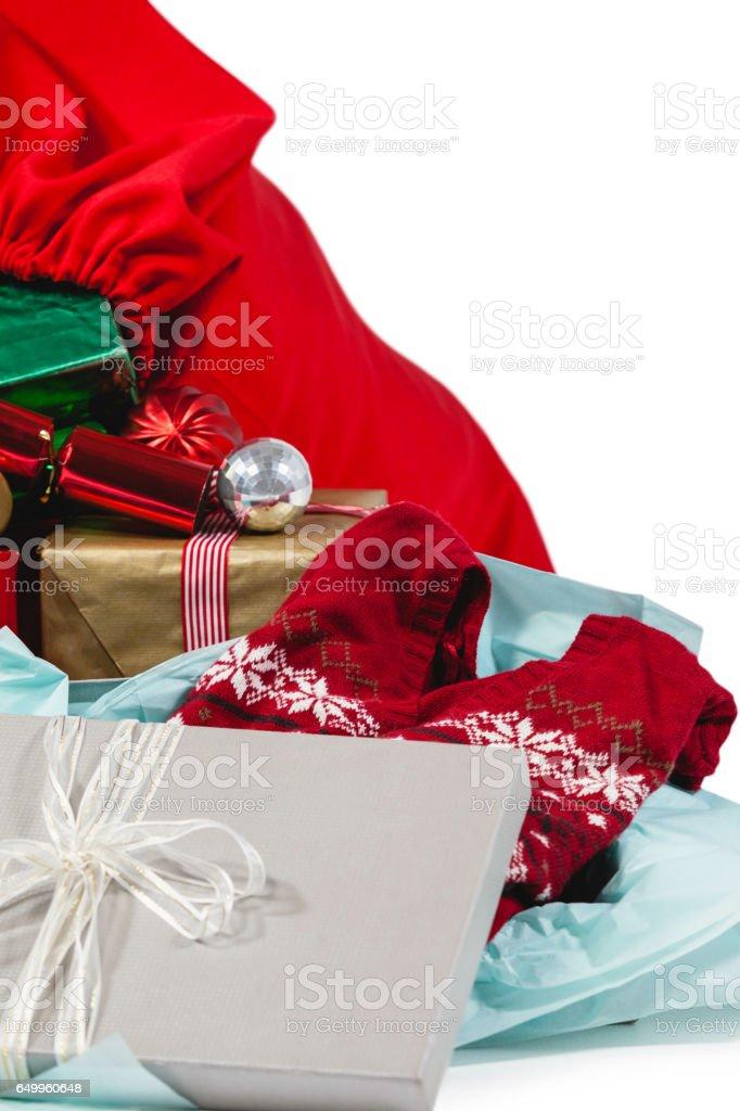 Christmas presents with santa sack stock photo
