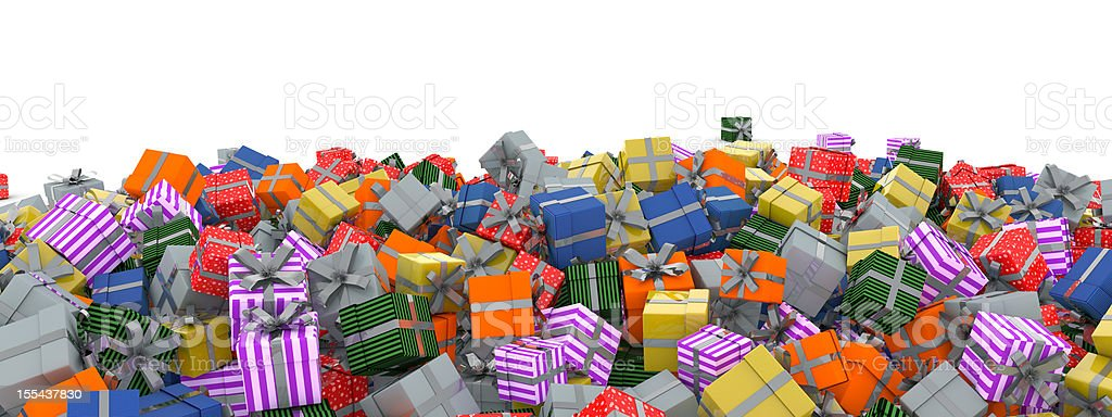 christmas presents with silver bow royalty-free stock photo