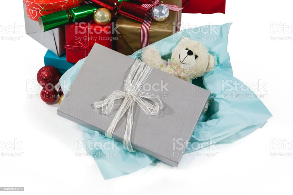 Christmas presents with soft toy and decoration stock photo