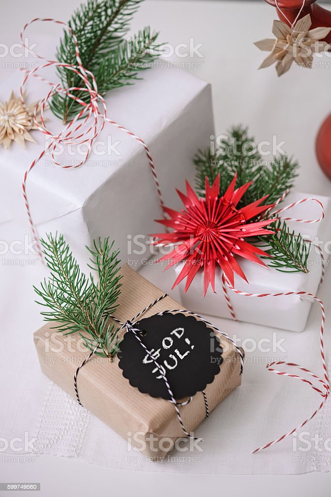 Christmas presents with text tag stock photo