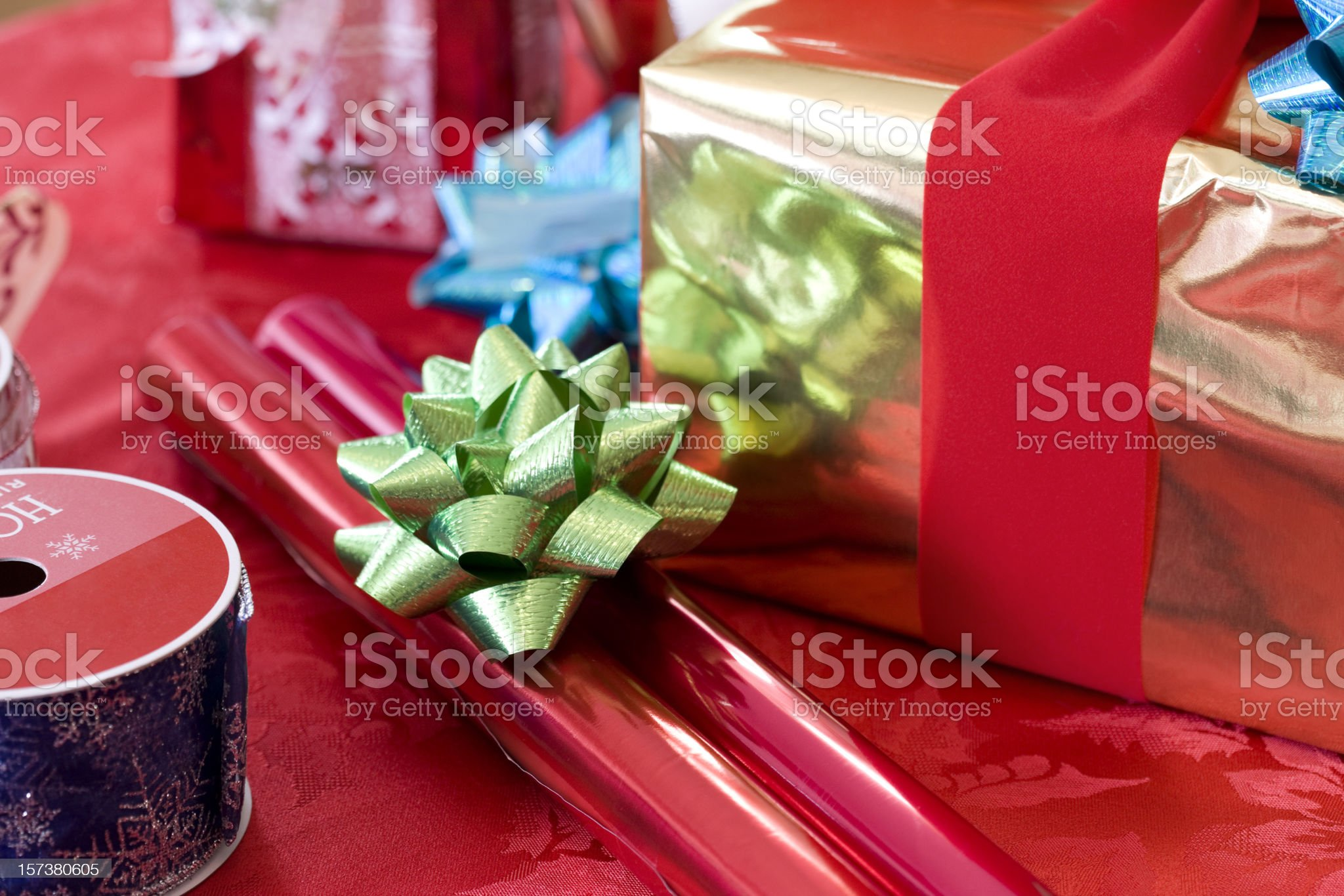 Christmas Presents, Wrapping Paper and Ribbon, Copy Space royalty-free stock photo