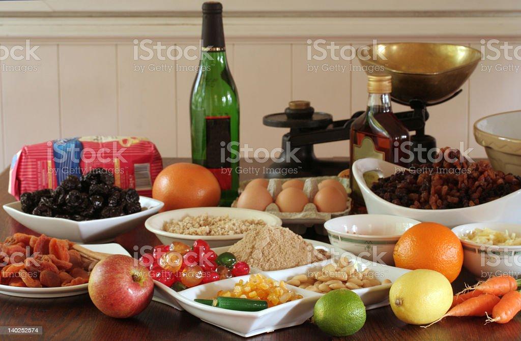 christmas pudding ingredients stock photo