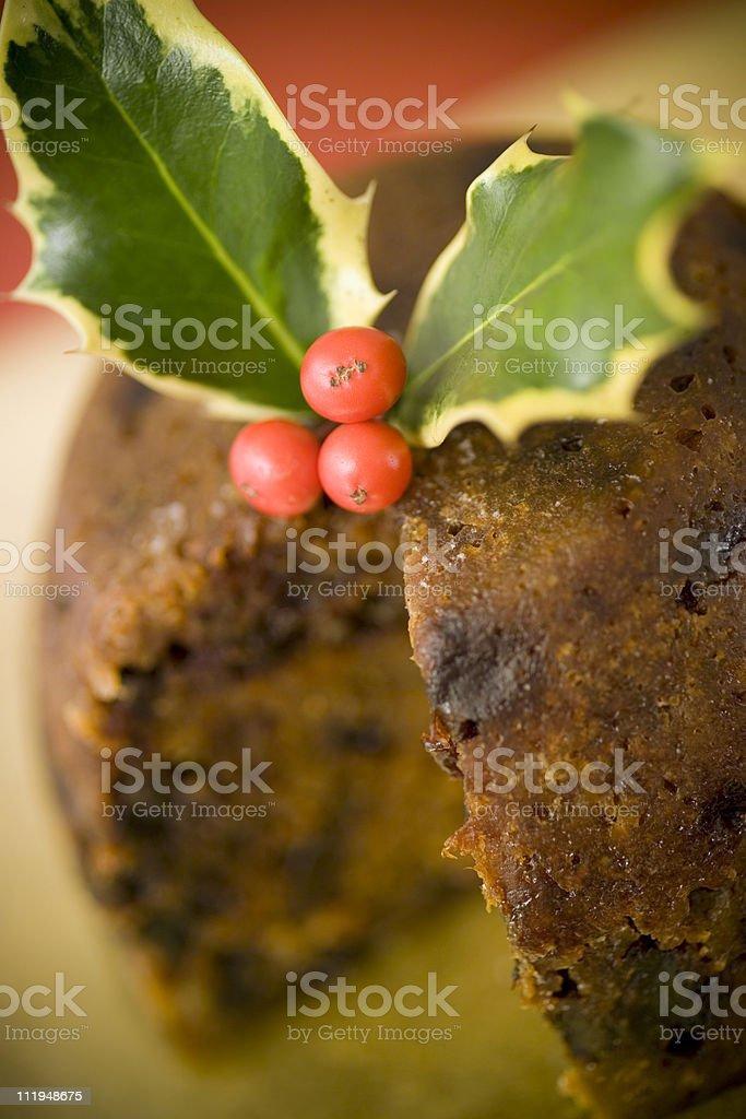 Christmas pudding sliced open,narrow focus,lomo effect royalty-free stock photo