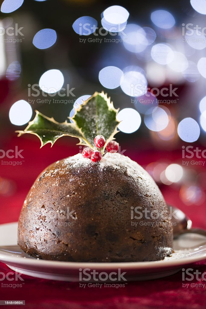 Christmas pudding with blue lights royalty-free stock photo