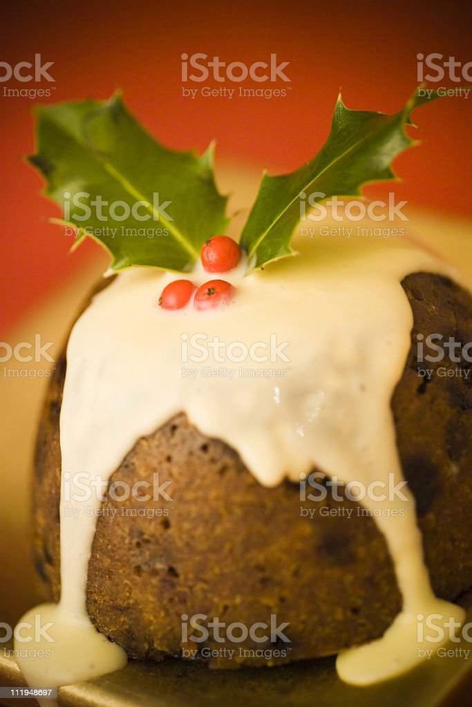 Christmas pudding with sauce, lomo effect stock photo