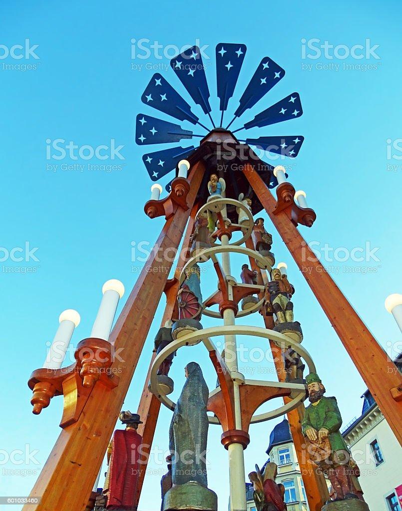 Christmas pyramid at the Christmas market in Annaberg-Buchholz (Germany) stock photo