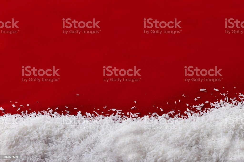 Christmas red background and snow flakes stock photo