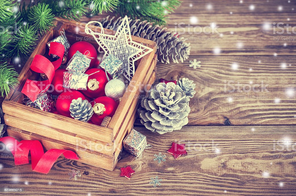 Christmas red balls in wooden box stock photo