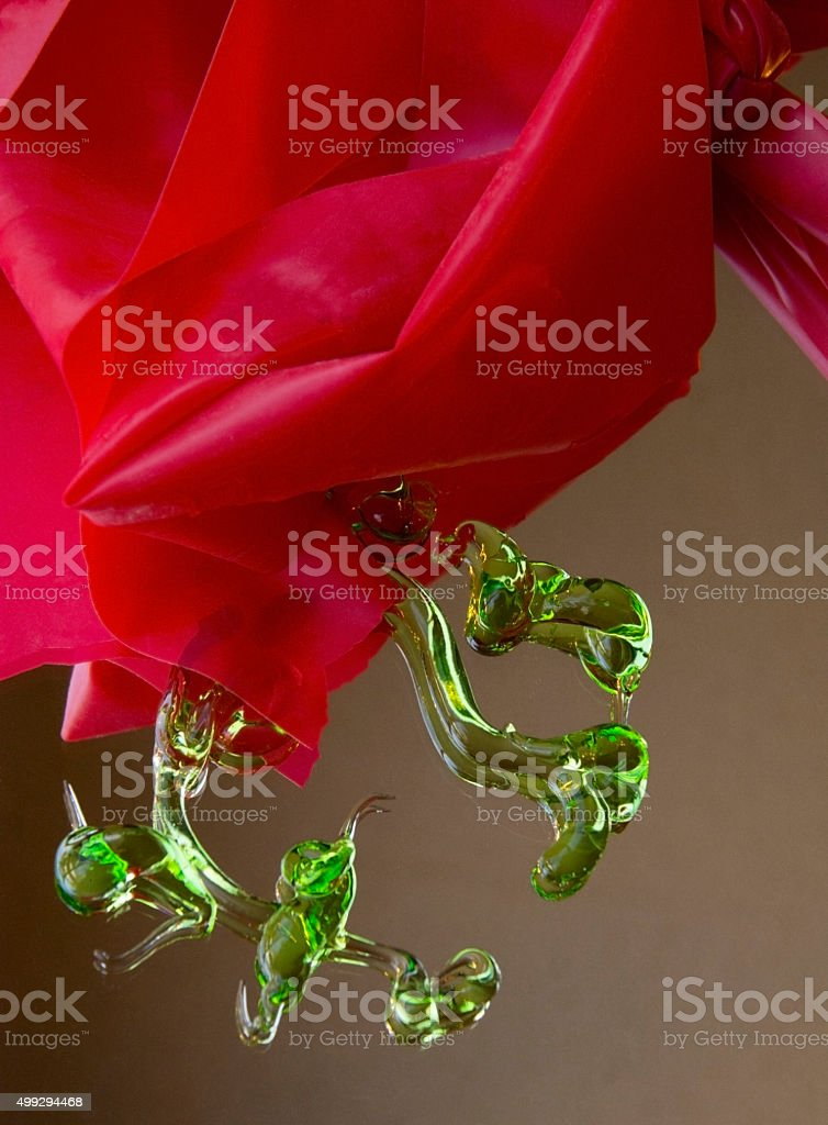 Christmas red band bow and green gel stock photo