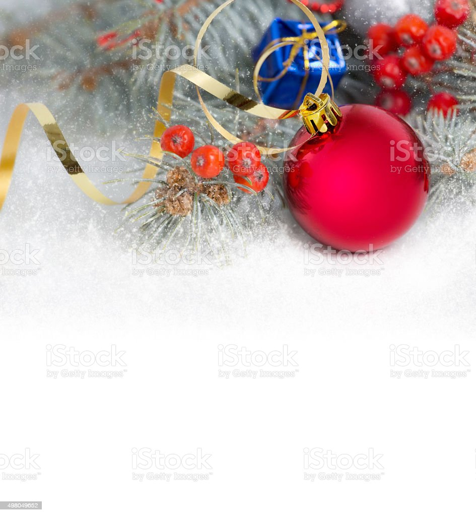 Christmas red bauble and deorations on white background. stock photo