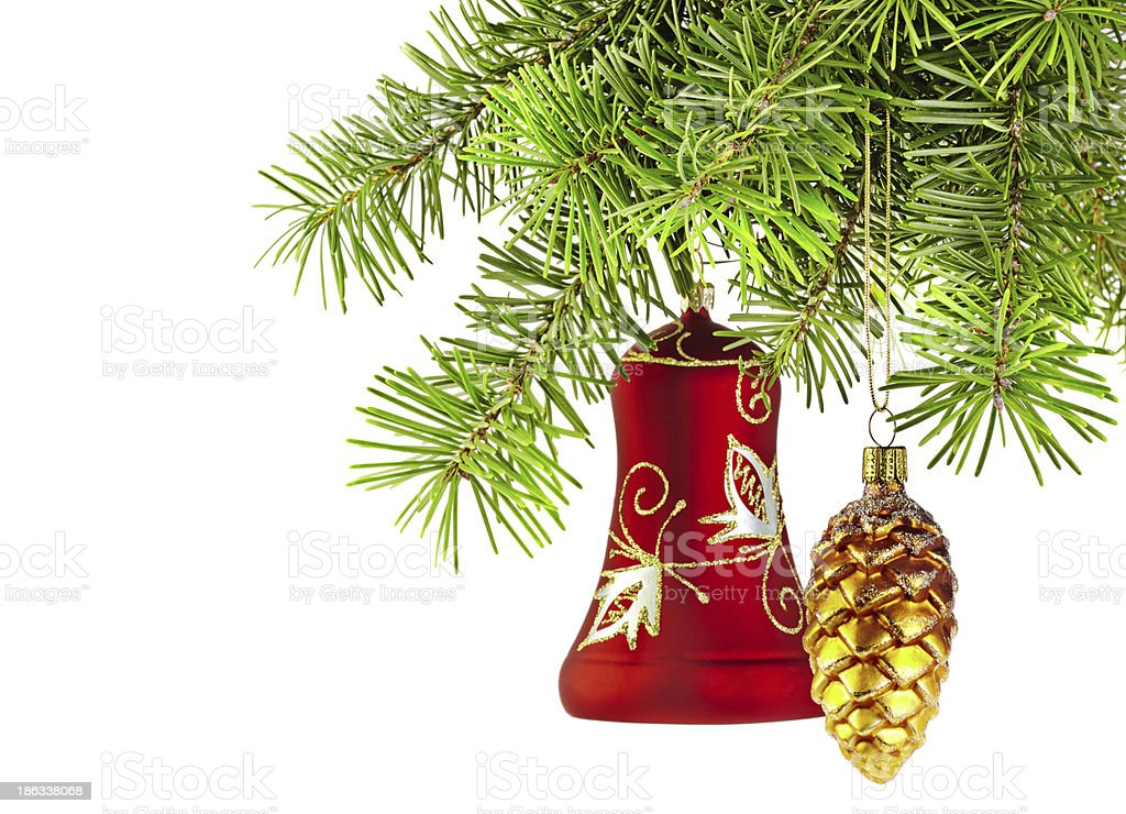 Christmas red bell and golden cone royalty-free stock photo
