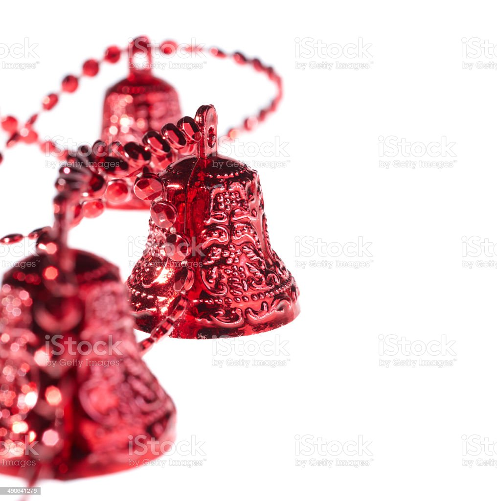 Christmas red bell with space for text stock photo