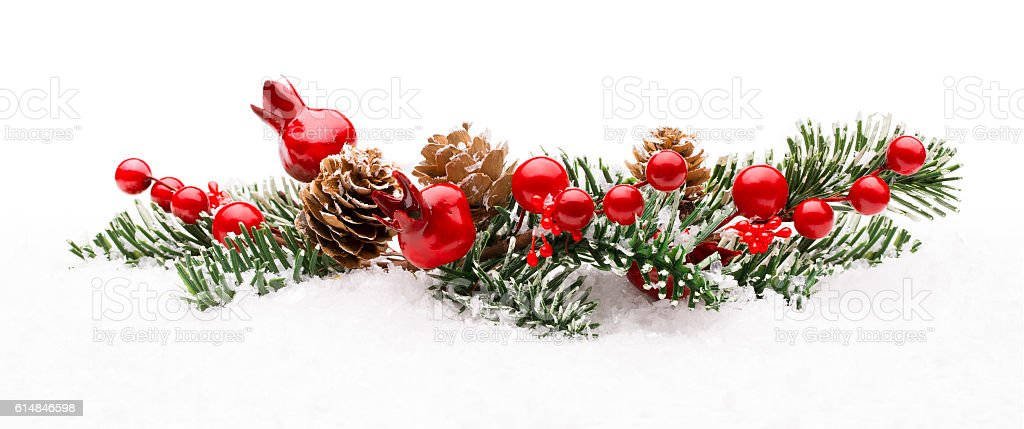 Christmas Red Berry Branch Decoration, Holiday Xmas Berries on Snow stock photo