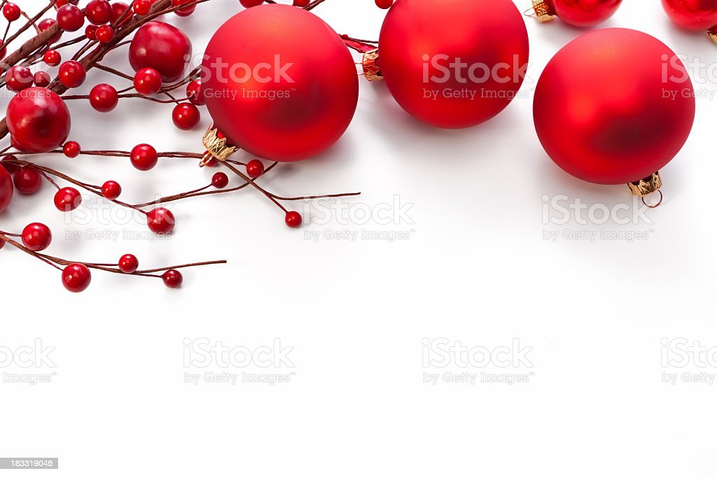 Christmas red decoration on a white background stock photo