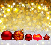 Christmas red decoration with snow isolated.