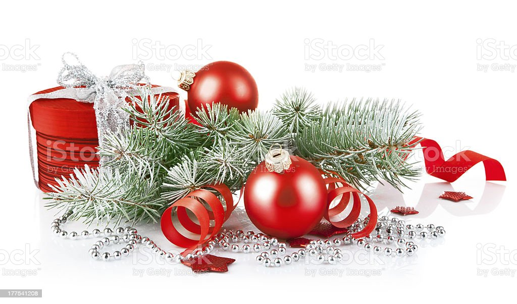 christmas red gift with branch firtree royalty-free stock photo