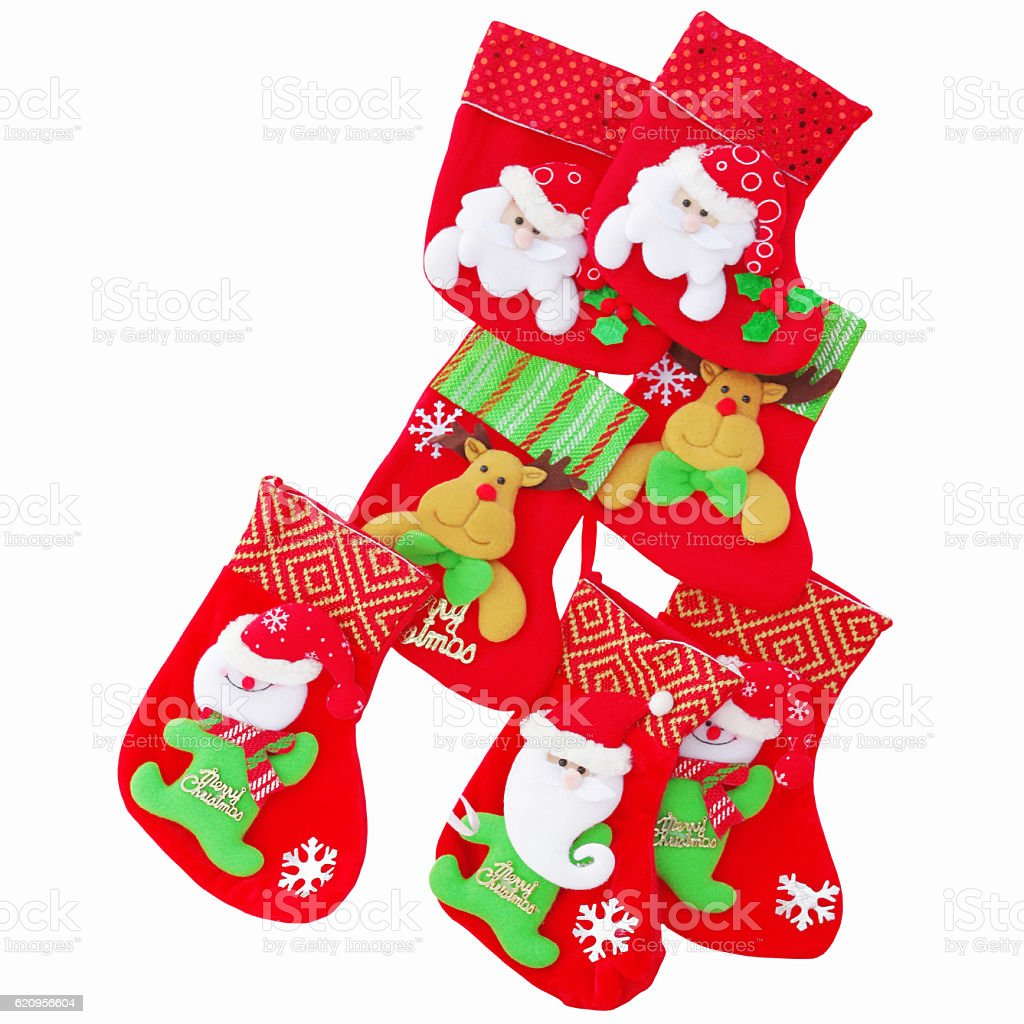 Christmas red gloves with a pattern stock photo