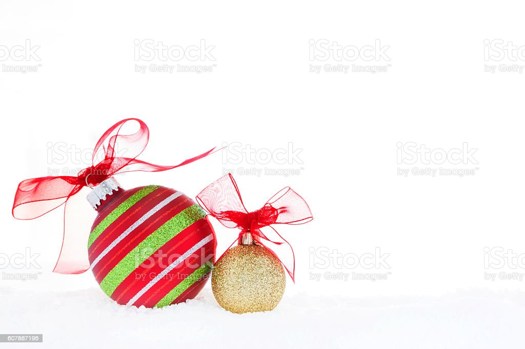 Christmas Red Green Gold Ball Ornaments Red Ribbon Snow royalty-free stock photo
