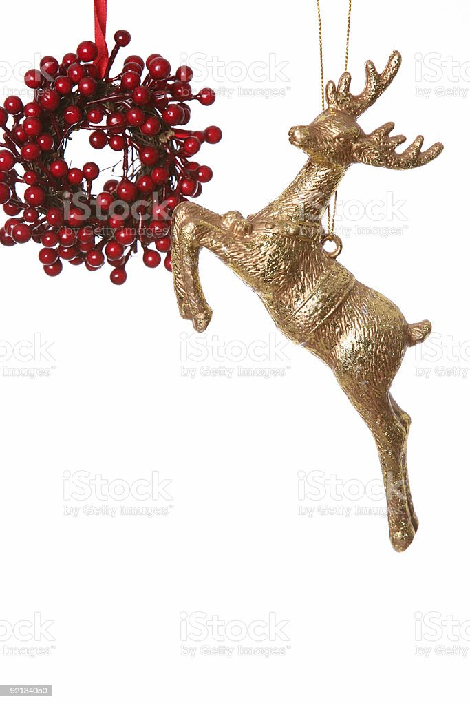 Christmas reindeer and berries royalty-free stock photo