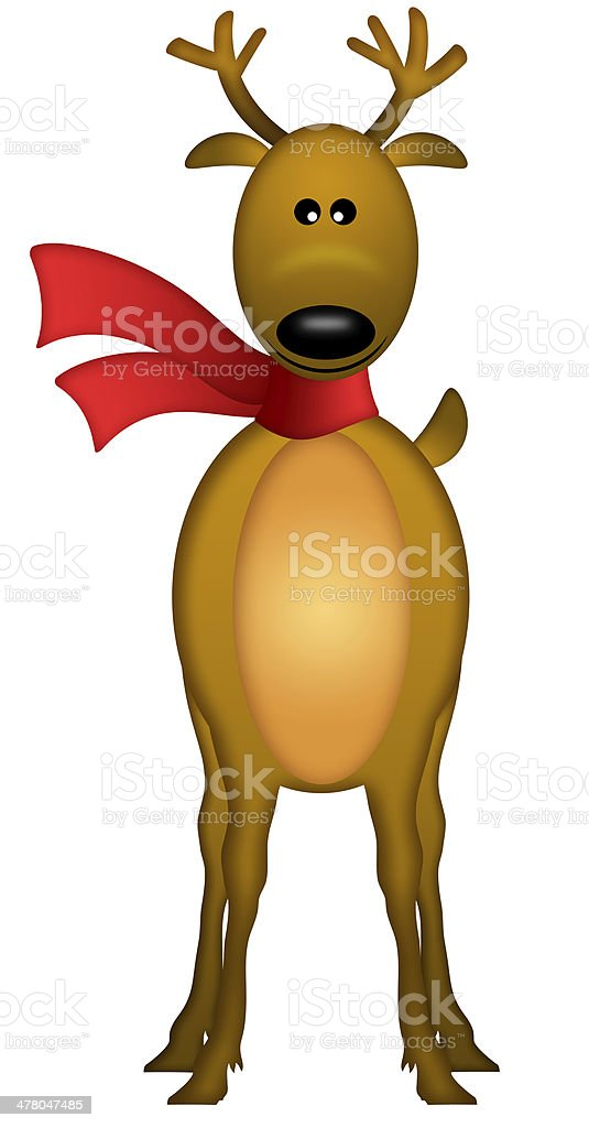 Christmas Reindeer with Red Scarf royalty-free stock photo