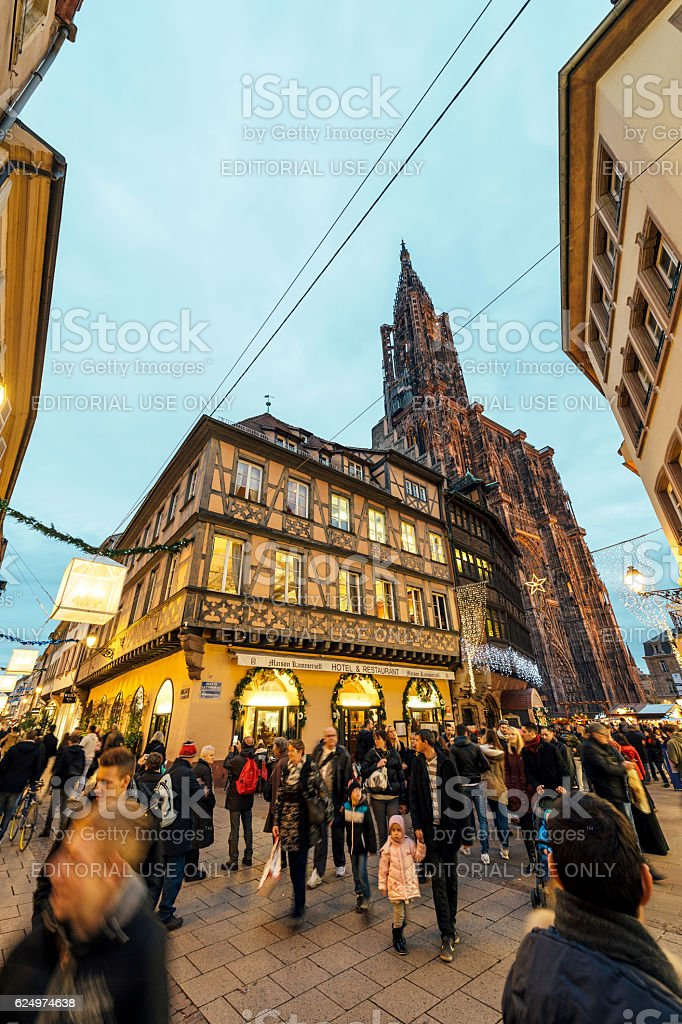 Christmas Restaurant and Holiday hotel  with Notre-Dame view stock photo