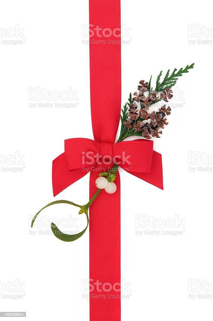 Christmas Ribbon and Flora stock photo