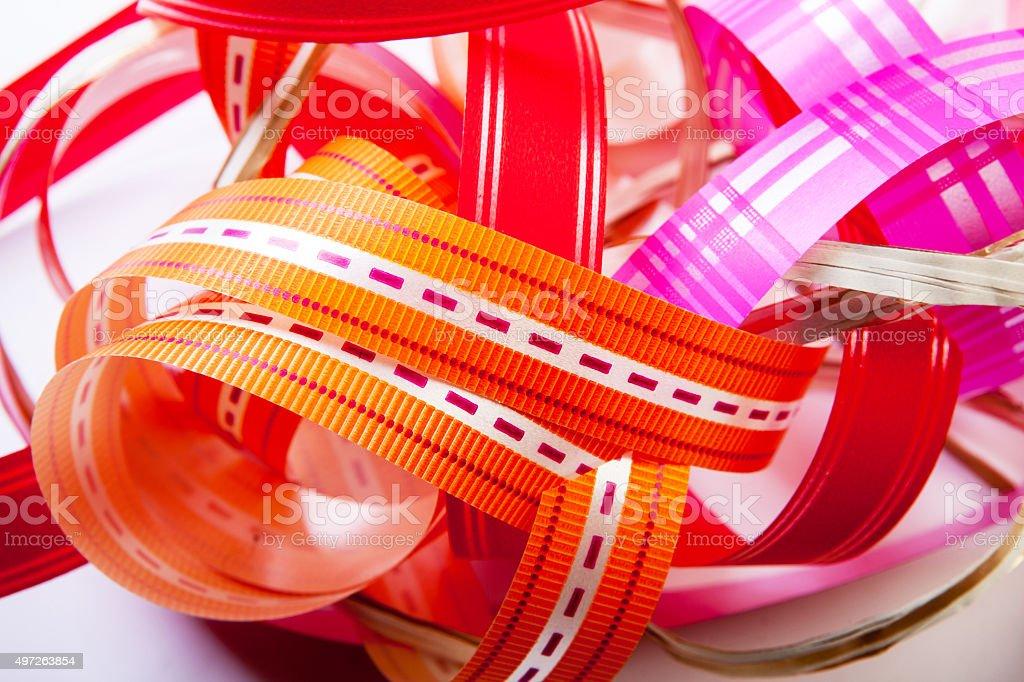 Christmas ribbon on white background. stock photo