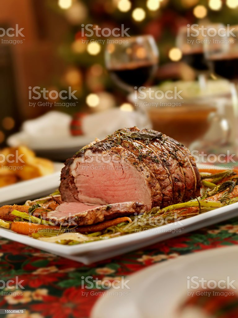 Christmas Roast Beef Dinner stock photo