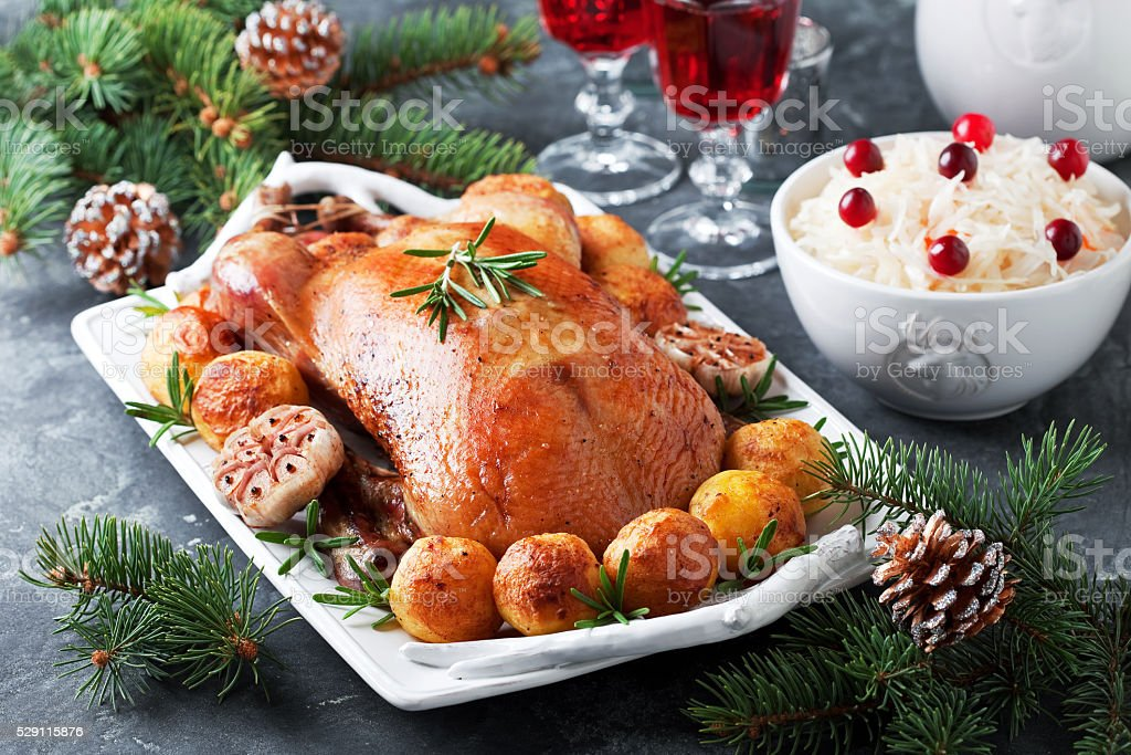 Christmas roast duck stock photo
