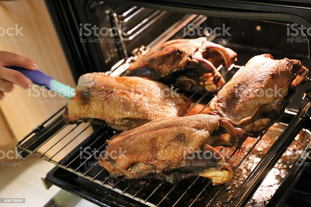 Christmas roast goose stock photo