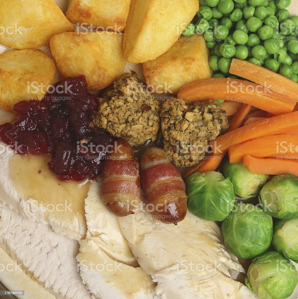 Christmas Roast Turkey Dinner royalty-free stock photo