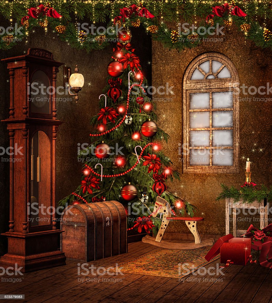 Christmas room with toys stock photo