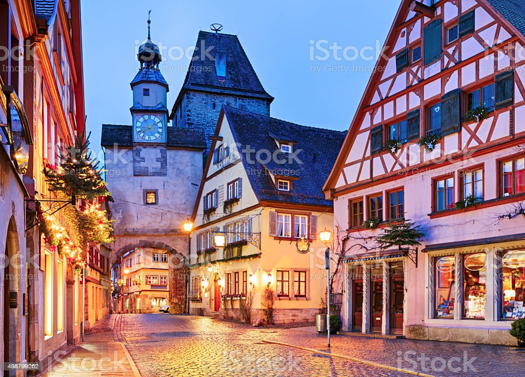 Christmas Rothenburg ob der Tauber at night, Bavaria, Germany stock photo