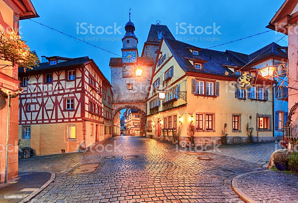 Christmas Rothenburg ob der Tauber, Bavaria, Germany stock photo
