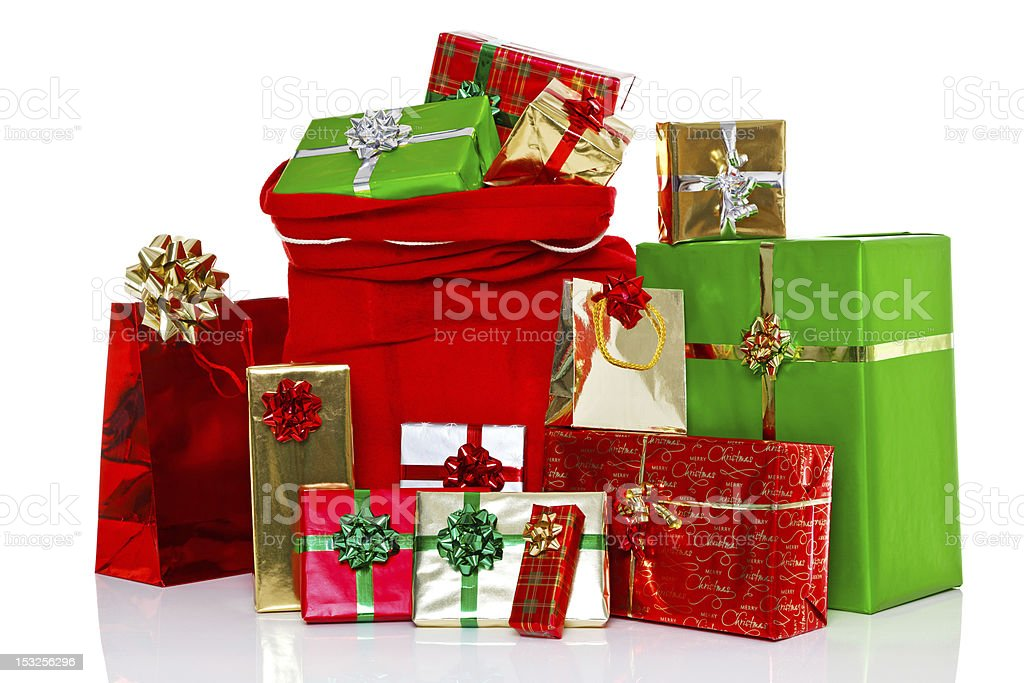Christmas sack and presents isolated royalty-free stock photo