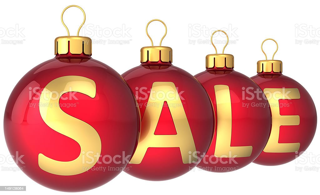 Christmas sale balls baubles decoration red golden royalty-free stock photo