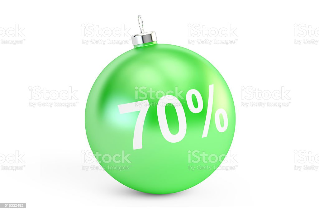 Christmas Sale concept, 70% 3D rendering stock photo