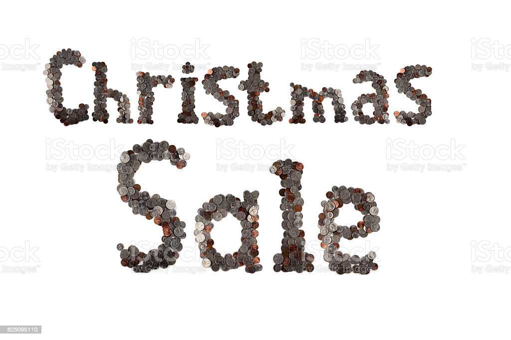 Christmas sale. Words made of coins. stock photo