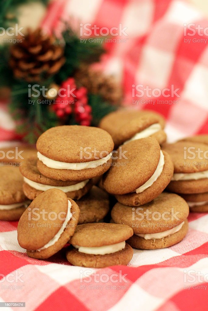 Christmas Sandwich Cookies with Cream Cheese Frosting royalty-free stock photo