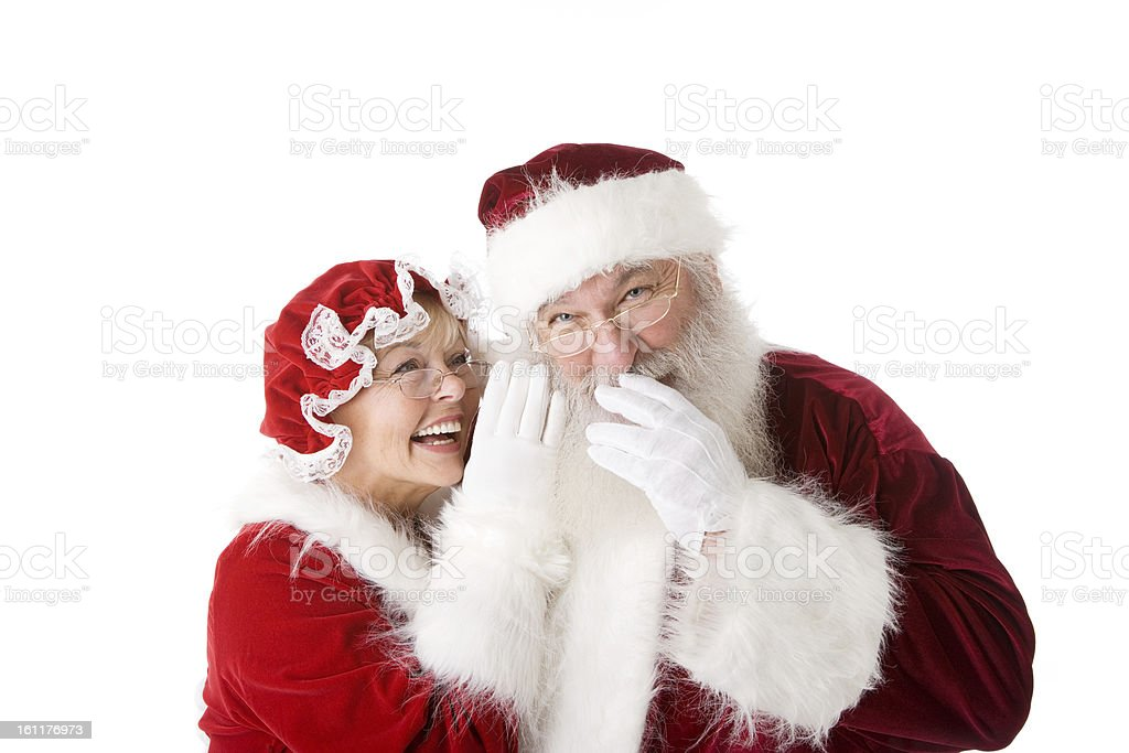 Christmas Santa and Mrs Claus Season Red White Head Shoulders stock photo