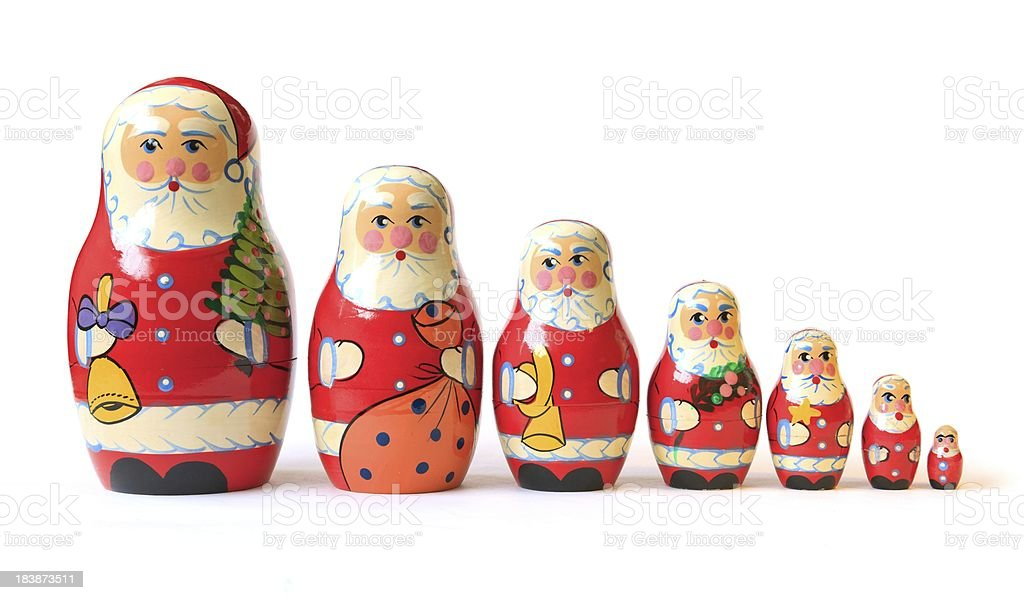 Christmas Santa babushka puzzle dolls  royalty-free stock photo