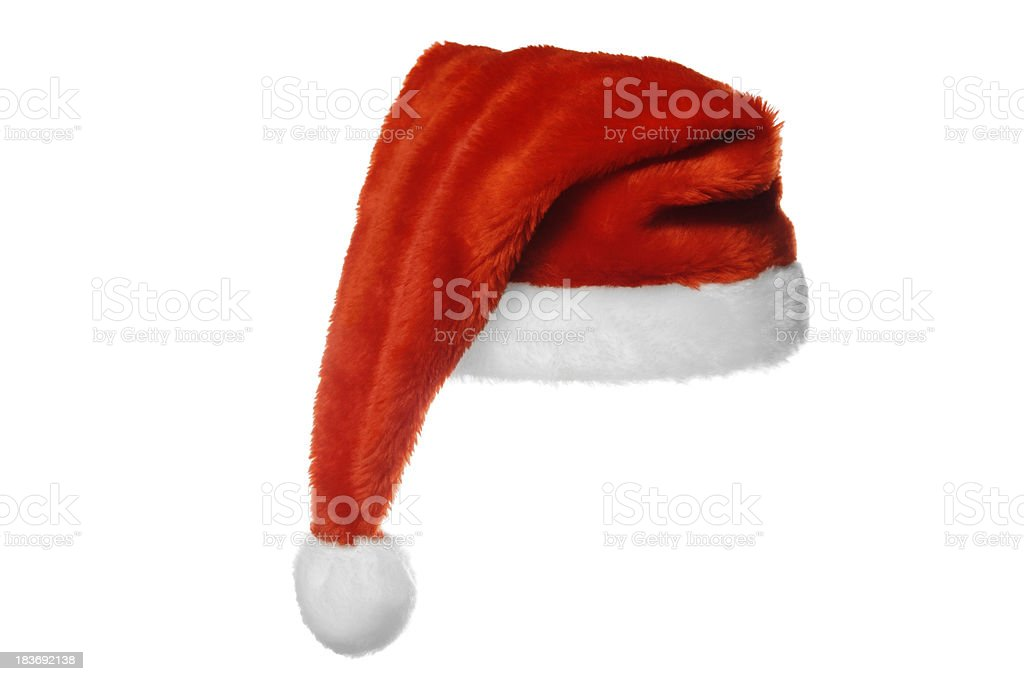 Christmas Santa Claus hat isolated on white stock photo