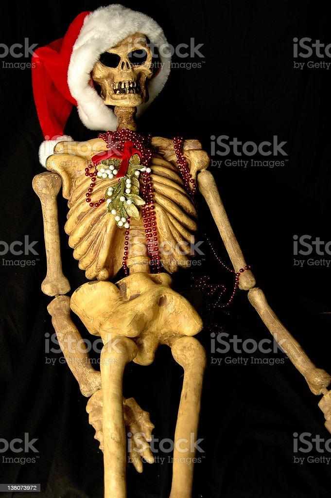 Christmas Santa Claus Hat Skeleton royalty-free stock photo